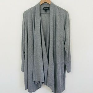 Lane Bryant Gray Draped Open Front Sweater